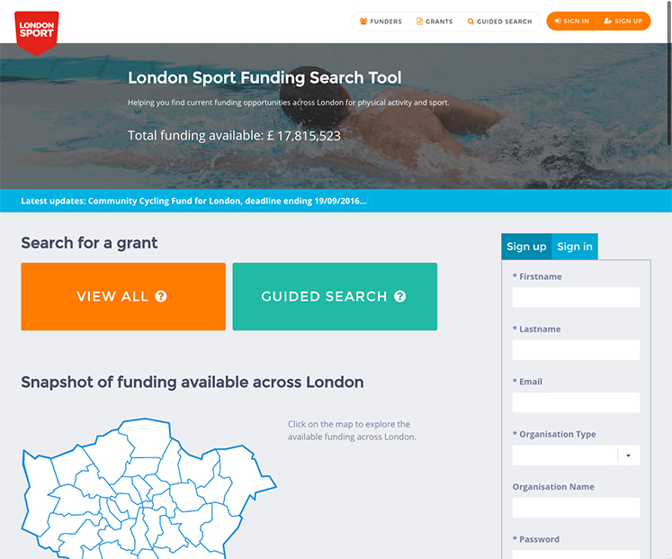 London Sport Funding Search Tool